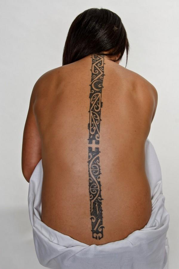 Black Ink Spine Tattoo