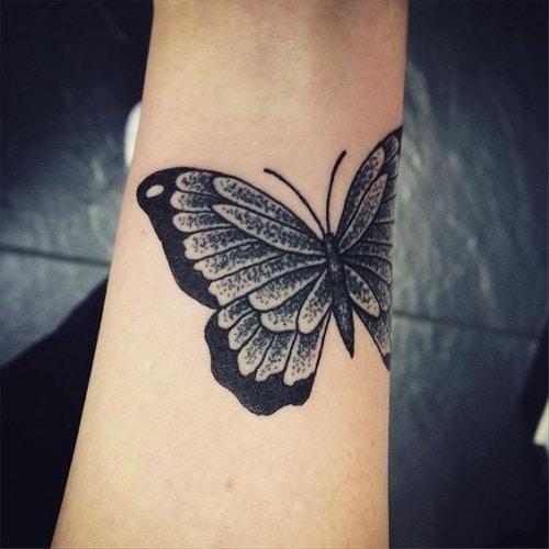Black Wrist Tattoo Butterfly Design