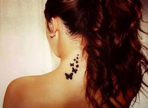 Butterflies on Neck Tattoo