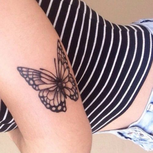 Butterfly on Back Arm Tattoo