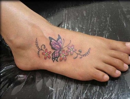 Butterfly with Cherry Blossoms Tattoo