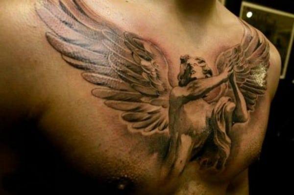 Chest Angel Tattoo