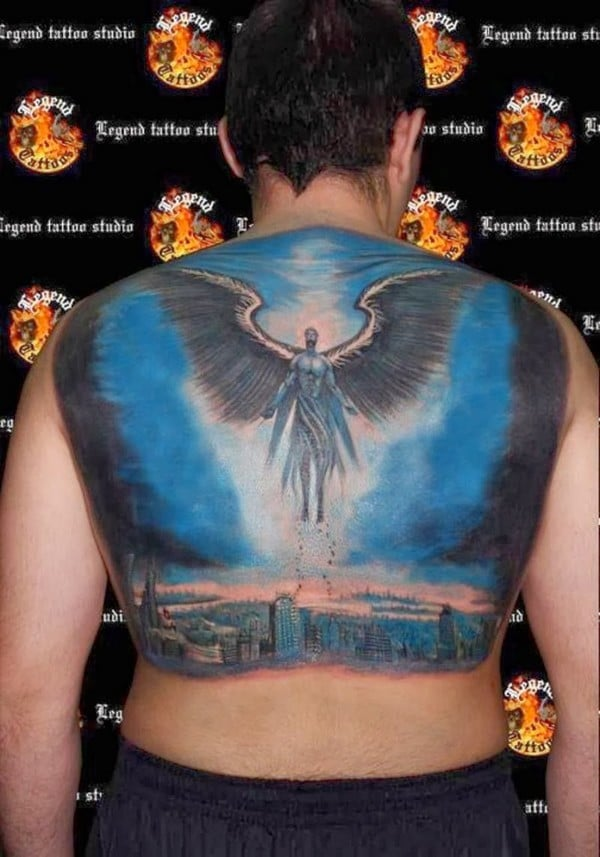 Colored Angel Back Tattoos