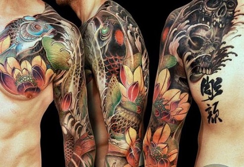 Colorful Japanese Koi Tattoo with Skulls