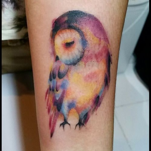 Cute Shy Owl Watercolor Tattoo