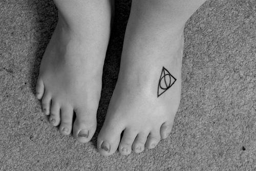 Deathly Hallows Foot Tattoo
