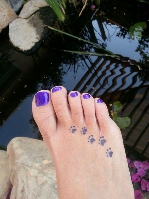 Dog Foot Prints Foot Tattoo