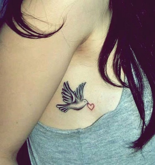 Dove Holding Heart Side Breast Tattoos