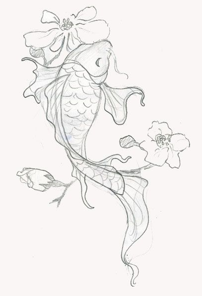 Draft of Koi Fish Tattoo with Flowers