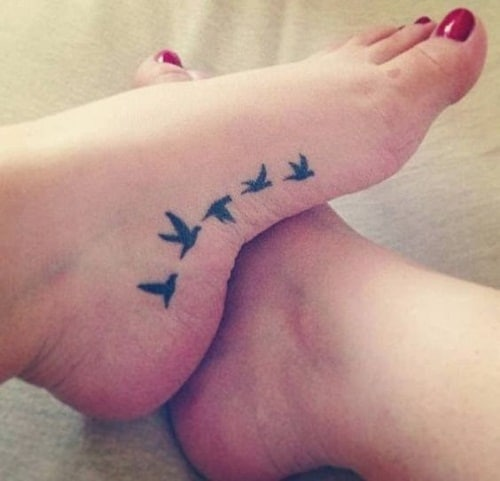 Flying Birds Foot Tattoos