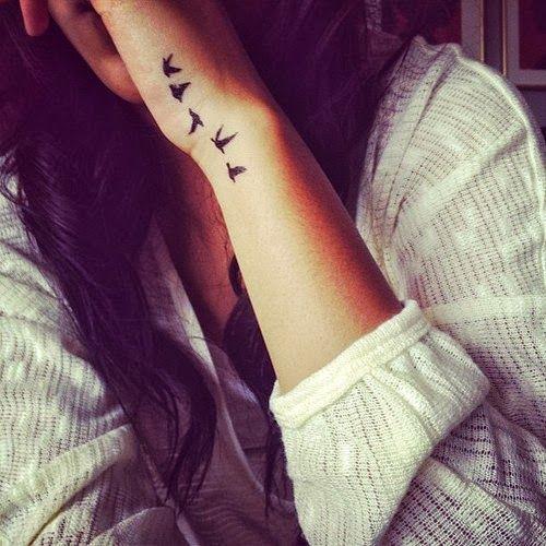 Flying Black Doves Tattoos