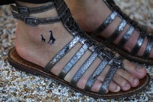 Giraffe Small Foot Tattoos