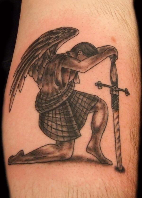 Guardian Angel Leg Tattoo