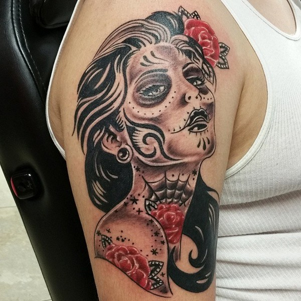 Half Sleeve Tattoo Sugar Skull