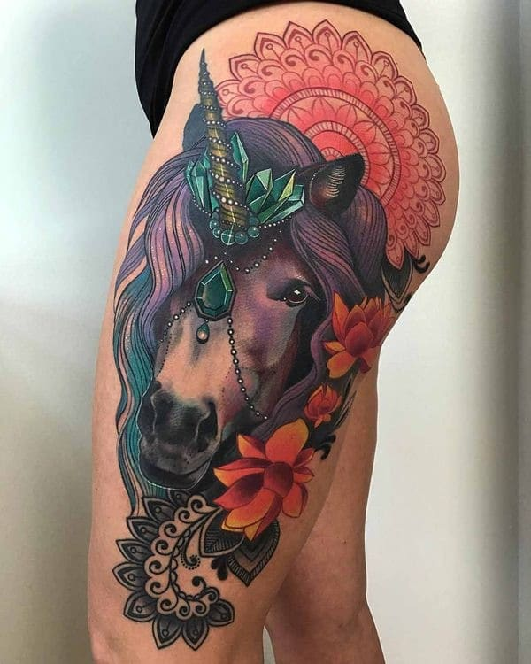 Hip Upper Thigh Tattoos