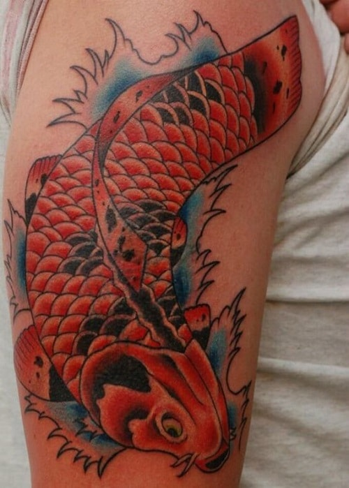 Koi Tattoo with Water Waves