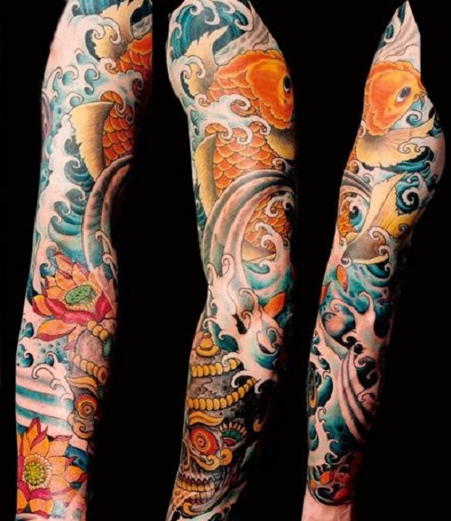 Koi Tattoo With Waves And Flowers
