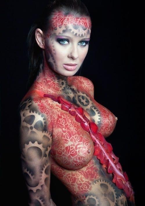 Mechanical Body Paint Design For Female