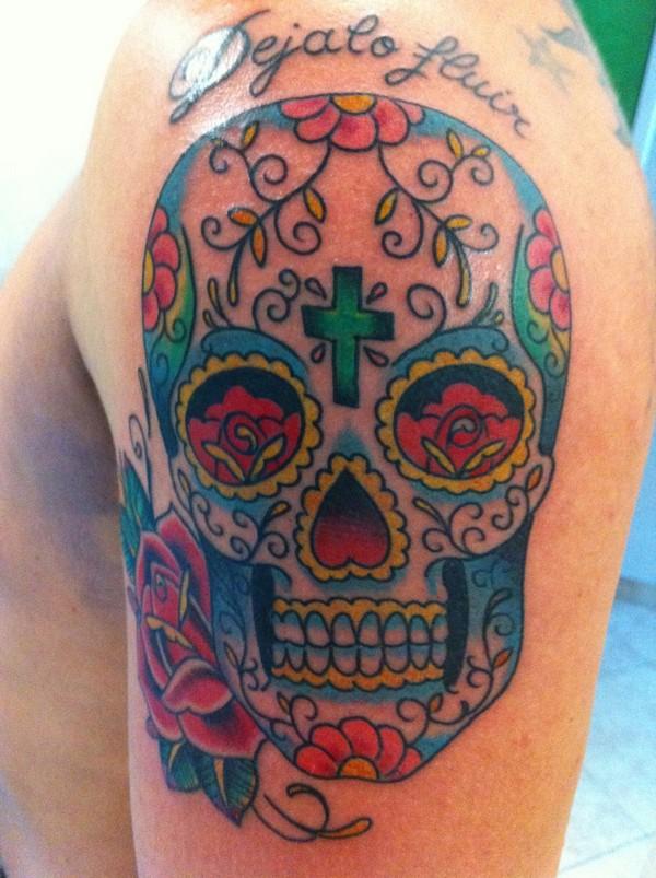 Mexican Sugar Skull Color Tattoo