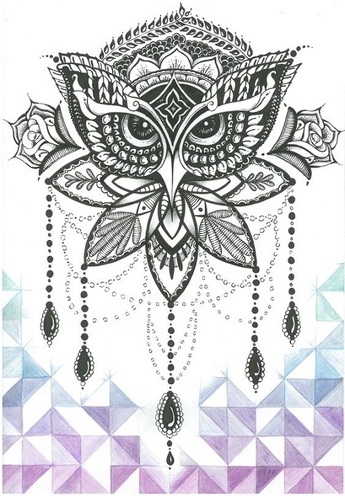 Ornate Black Owl Tattoo