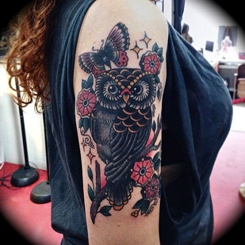 Owl, Flower and Butterfly Tattoos