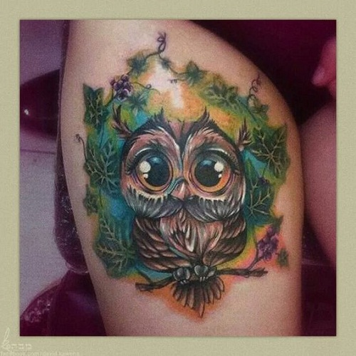 Owl with Green Leaves Tattoos