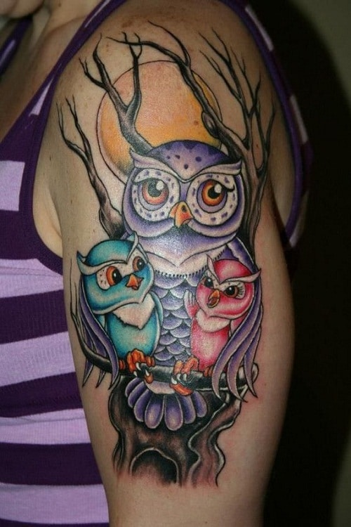 Owl with Offsprings Tattoo