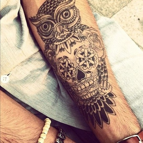 Owl with Skull in Front Tattoo