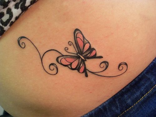 Fantastic Stomach Butterfly Tattoo
