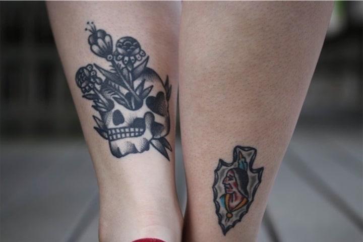 Back Ankle Skull Tattoo Leg