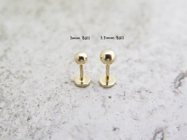14K Solid Gold Ball Medusa Piercing
