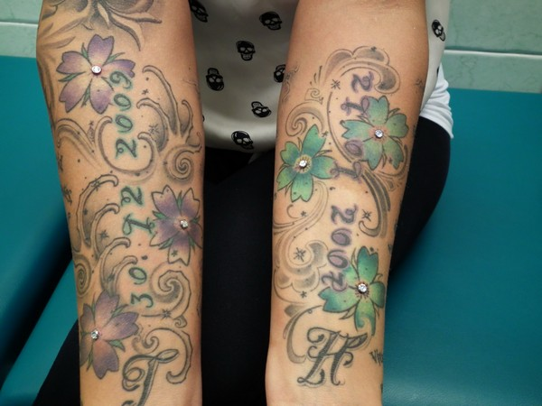 Flower Tattoo And Piercing Combination