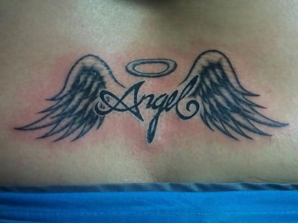 Angel Wings And Cross Tattoos