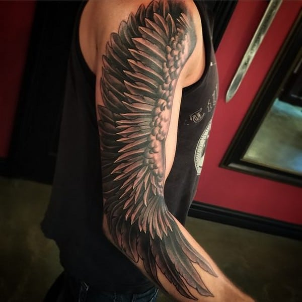 Angel Wings And Halo Tattoo