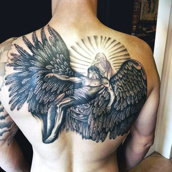 Angel Wings Tattoo On Neck