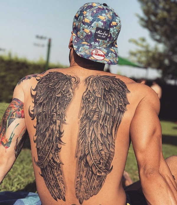 Angel Wings With Halo Tattoo