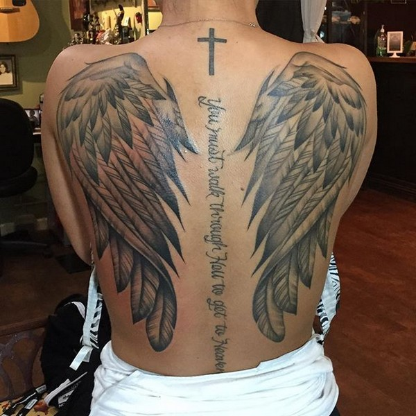 Angel Wings With Initials Tattoos