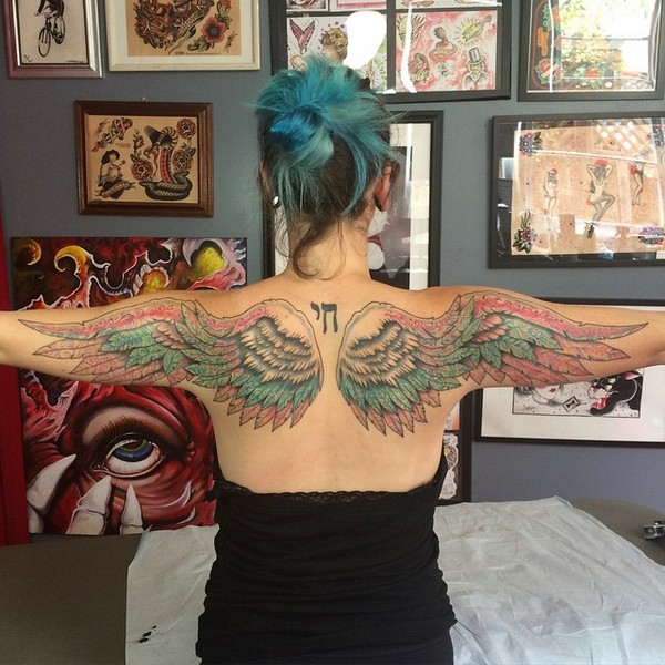 Colored Angel Wings Tattoos