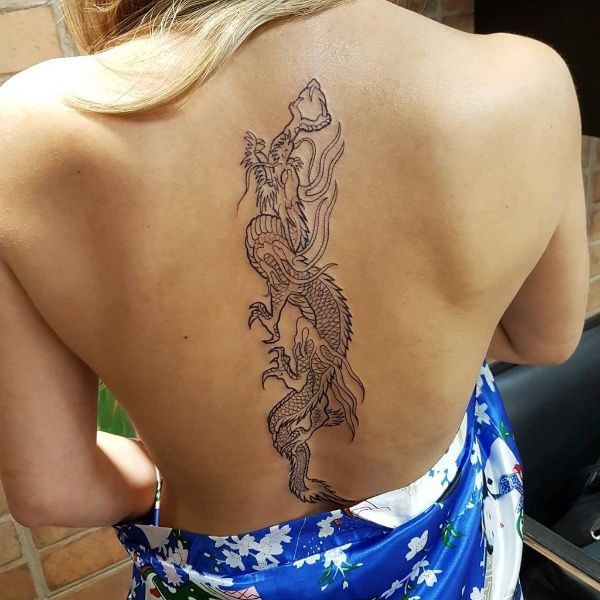 Back Dragon Tattoo Drawing Meaning Ideas