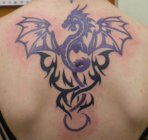 Dragon Tribal Tattoo On Back