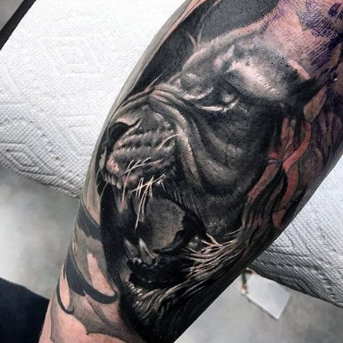 Lion Face Tattoo On Thigh