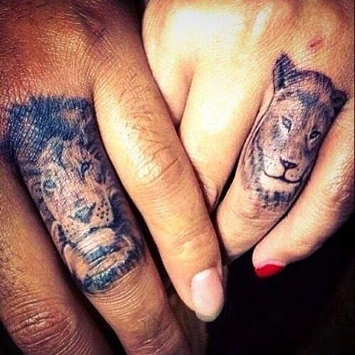 Lion Finger Tattoo Couple