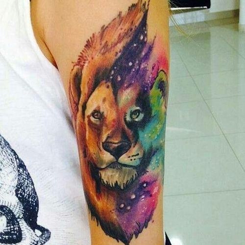 Lion Tattoo On Arm Girl