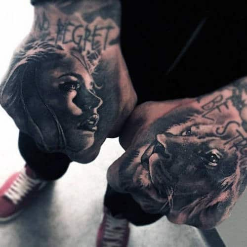 Lion Tattoo On Hand Girl