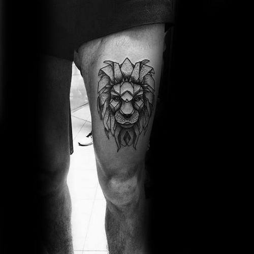 Lion Tattoo On Upper Thigh