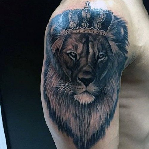 Lion With Crown Tattoo On Arm