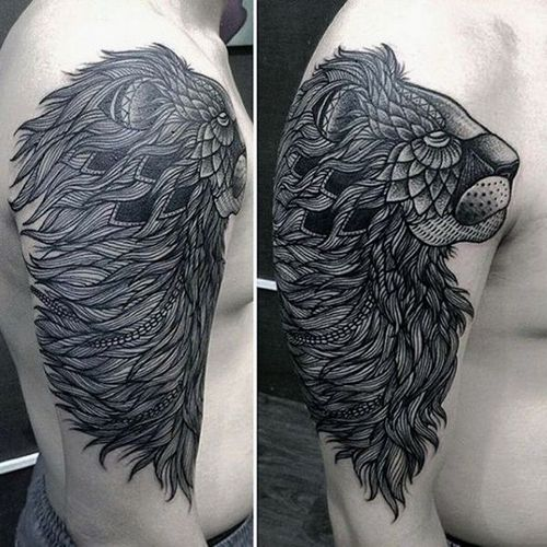 Tattoo Of A Lion On Arm