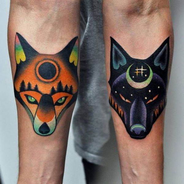 Lovers Wolf Tattoos