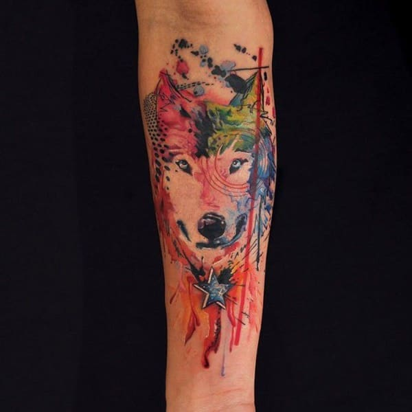 Wolf And Feather Tattoos For Women