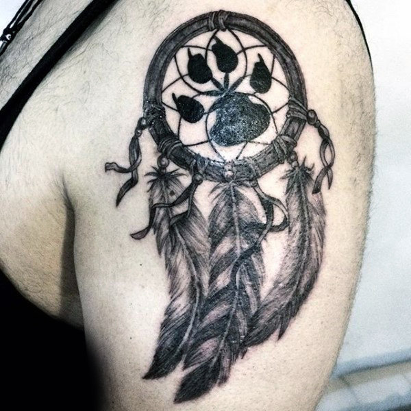Wolf Dreamcatcher Tattoos For Guys